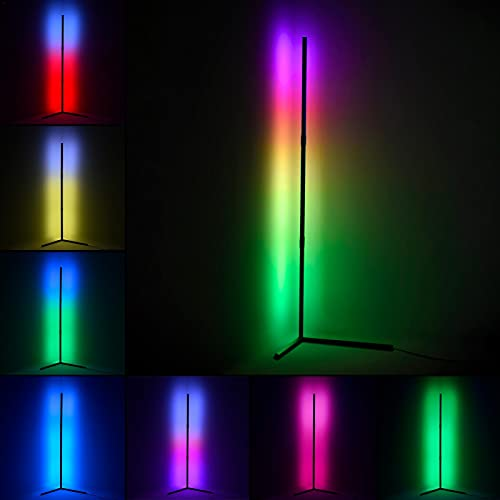 LED Floor Lamp Dimmable With Remote Control, Corner Floor Lamp Continuously Dimmable Colour Changing Light, Colorful RGB Brightness Continuously Dimmable Floor Lamps For Living Room Bedroom