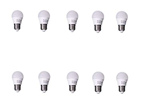 Jandei - Förpackning med 10 Globo G45 LED-lampor, E27-uttag, 7W, Neutralvit 4200K för taklampor, belysningssystem, dekorativa vägglampor, sänglampor [Energieffektivitetsklass A ++]