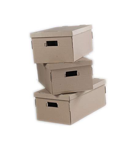 Boite Carton Pliables Finition Kraft Écru, 52cm x 20cm x 29cm, Lot de 3