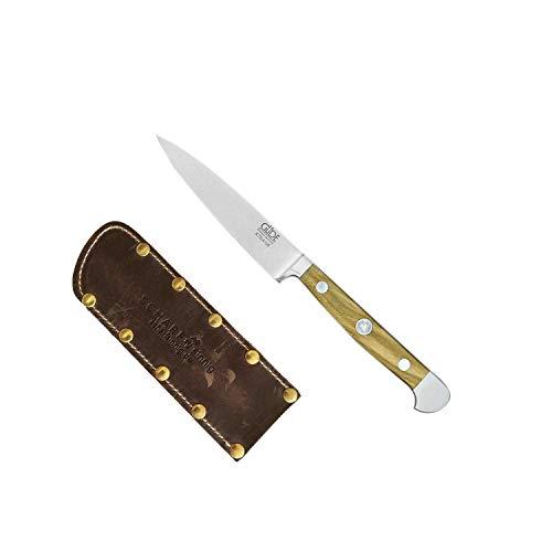 Güde Spickmesser 8 cm Alpha Olive X764/08 + SCHARFsinnig Shabby Chic Leder Klingenschutz