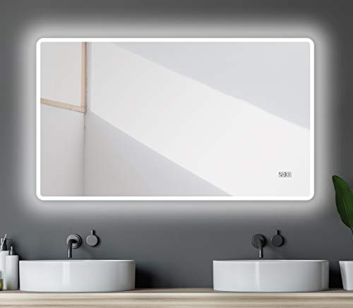 Talos LED Badspiegel, Sun 120 x 70 cm - Lichtumrahmung -Lichtfarbe 4200K - Digitaluhr - Modernes Design