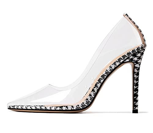 Castamere Scarpe col Tacco Donna Moda Trasparente Pumps Tacco a Spillo 10CM High Heels Nero Bianco Scarpe EU 37