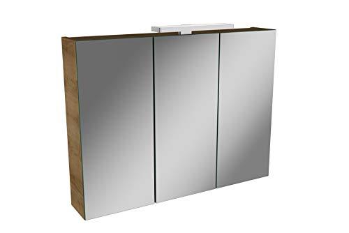 Lanzet LED Spiegelschrank L2 / Badschrank mit LED Leuchte/Maße (B x H x T): ca. 80 x 68 x 14,5 cm/Möbel fürs Bad oder WC/Badezimmer Schrank mit 3 Türen/Korpus: Braun hell/Front: Spiegel
