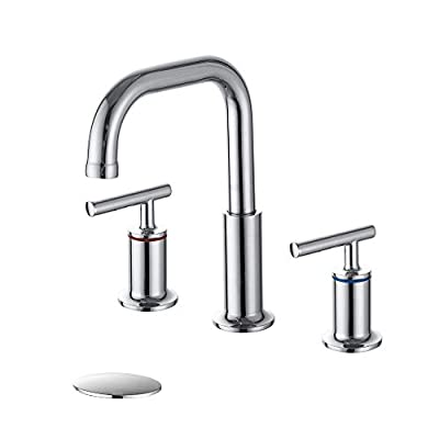 HOMELODY Bathroom Faucet Chrome, 360 Degree Swivel Spout 2 Handles 8 Inch Widespread Bathroom Sink Faucet with Pop Up Drain