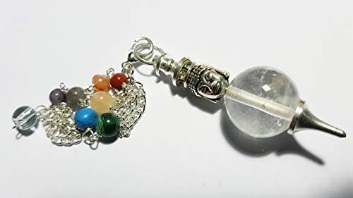7 Chakra bergkristallen bolvormige hanger met dubbele Boeddha-kop