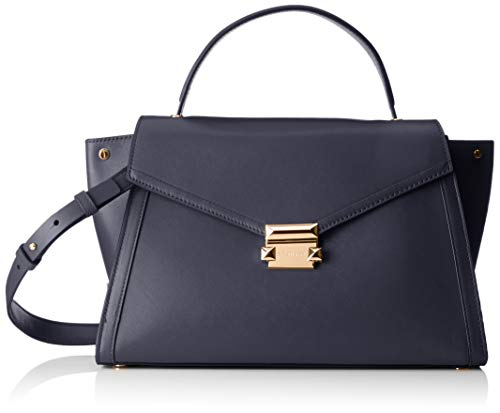 """14""""W x 8-1/2""""H x 5-3/4""""D (width is measured across the bottom of handbag) 4""""L top handle; 17""""-19""""L adjustable removable strap Push-lock closure 1 interior zip pocket & 2 slip pockets Leather; lining: polyester"""
