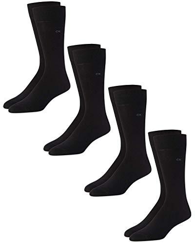 Calvin Klein Socks - Cotton Blend Lightweight Mid-Calf Althletic Crew Socks (4 Pack), Size Shoe Size: 7-12, Black