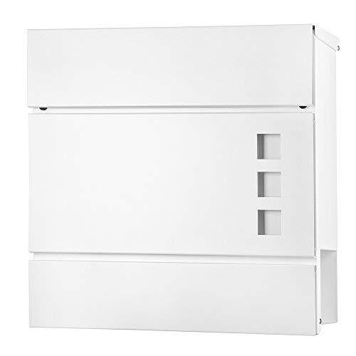 Melko Wandbriefkasten Weiß Design Briefkasten mit Zeitungsfach 37x11x36,5 cm Letterbox Hausbriefkasten