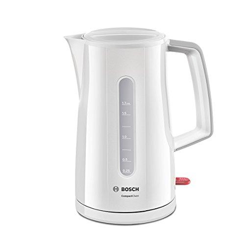 Bosch TWK3A011 CompactClass kabelloser Wasserkocher, schnelles Aufheizen, Wasserstandsanzeige beidseitig, Überhitzungsschutz, 1,7 L, 2400 W, weiß