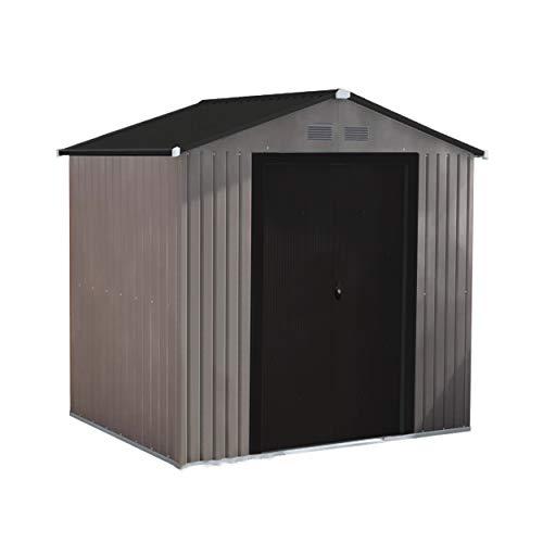 6' x 4' Metal Storage Shed with Peak Style Roof, Steel Storage Shed with Floor Base Kit, Lockable Doors, Brown