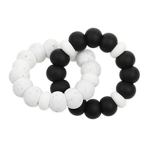XIANGBEI Pulsera de perlas de silicona de calidad alimentaria para bebé, con dientes de dientes, juguete para morder para bebés, refrescante, mordedor para niños pequeños, mordedor natural