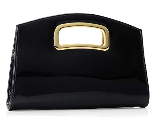 Women Evening Clutch Purse Faux Patent Leather Chain Shoudler Handbag with Cut Out Metal Handle (Black)
