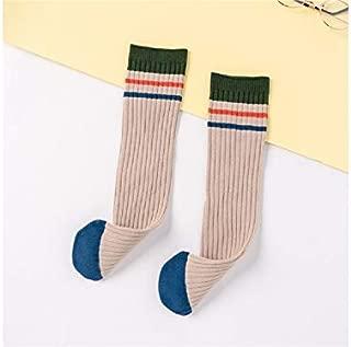 Lovely Socks Children Cotton Socks Kids Color Matching Stripe Pattern Mid Tube Socks(Black) Newborn Sock (Color : Beige)