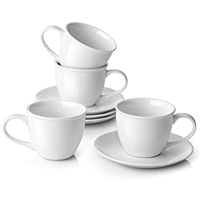 LIFVER Cappuccino Cups and Saucer Set, 8 Ounces Porcelain Cappuccino Mugs Perfect for Specialty Coffee Drinks, Latte, Cafe Mocha and Tea
