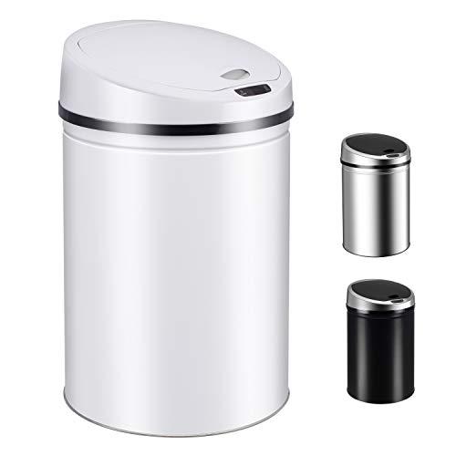 Ribelli Sensor-Mülleimer Cubo de Basura, Acero Inoxidable, Blanco, 40 litros