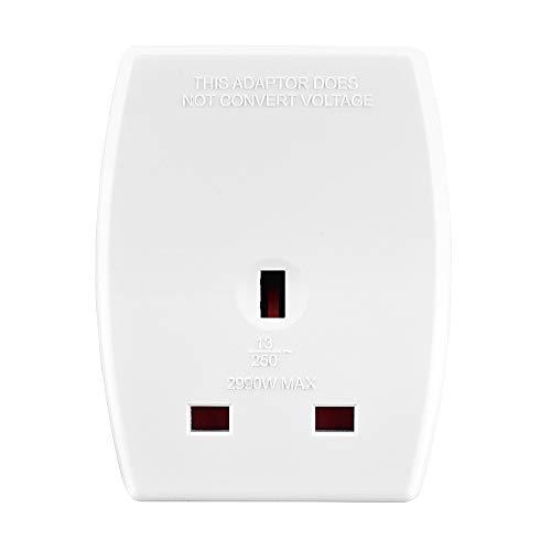 Amazon Basics UK to Europe Travel Adaptor with Two USB Charging Ports, White