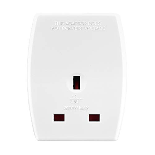 Amazon Basics UK to Europe Travel Adaptor with Two USB Charging Ports, White