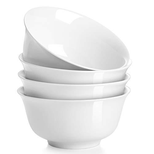 DOWAN 880ml Porzellanschüssel-Set, Tief Suppe/Müsli Schüssel Set, Servieren für Reis/Pasta/Nudel, 4er Set, Weiß