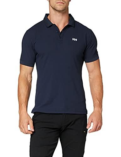 Helly Hansen Driftline Polo - Camiseta tipo polo de manga corta con tejido de secado rápido y logo HH en el pecho, Azul (Navy), S