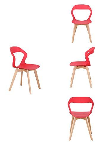 luckeu Juego de 4 sillas de comedor de plástico con respaldo hueco, sillas de oficina, salón, cocina, taburetes con patas de madera, sillas de comedor, jardín, oficina, cafés con respaldo (rojo, 4)