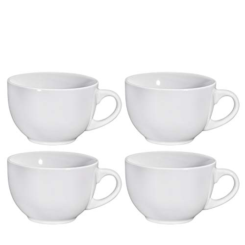Jumbo Soup Bowl and Cereal Mugs Wide Ceramic Mug Set of 4, 24 Ounce, By Bruntmor (White)