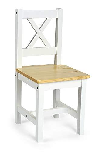 Leomark Set de 2 sillas de Madera para niños - Pola - Muebles de Comedor, para niños en el Estilo escandinavo (Blanco/Pino)