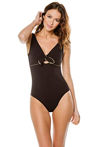 Karla Colletto Women's Carmelle Knot Front Over The Shoulder One Piece Swimsuit