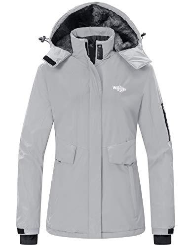 Wantdo Women's Skiing Jacket Removable Hood Rainwear Snow Coat Outerwear Gray L
