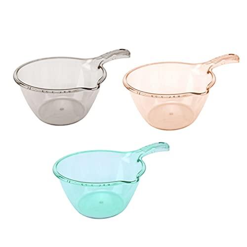 Cabilock Cucharón de Baño de Plástico de 3 Piezas Cuchara de Baño Clara Cuchara de Baño Cocina Cucharón de Agua Baño Ducha de Bebé Taza de Agua para Lavar El Cabello