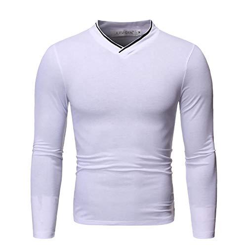 Camiseta Casual de otoño para Hombre, Jersey de Manga Larga con diseño de Tira de Cilindro con Cuello en V-White_2XL