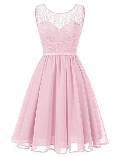 Cocktailkleider Rückenfrei Spitze Kurz A-Linie Chiffon Abendkleider Ballkleider Hochzeit Abschlussball Kleider Rosa 44