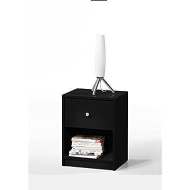 Tvilum 7033186 Portland 1 Drawer Nightstand, Black
