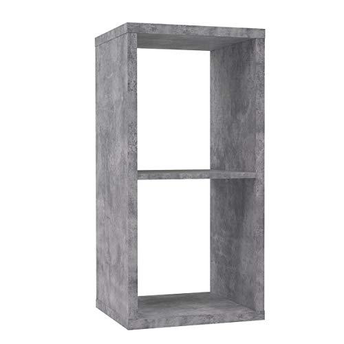 Meubletmoi - Scaffale a cubo, 2 scomparti, decorazione cemento, colore: Grigio