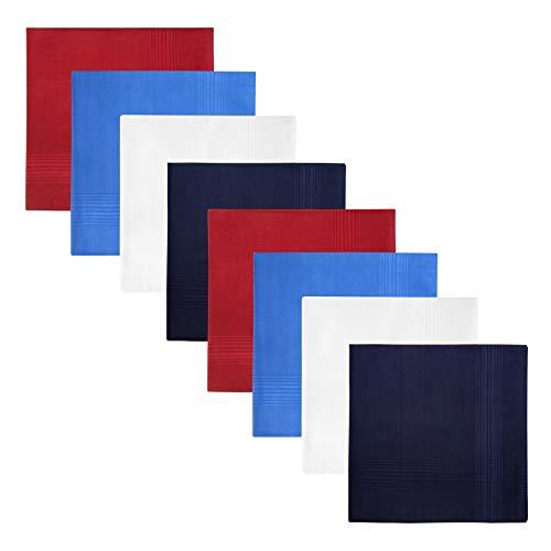 Retreez 8 Pezzi Puro Cotone Fazzoletti Assortiti per Uomo Confezione Regalo, regalo di Natale - Set Assortito A5A003