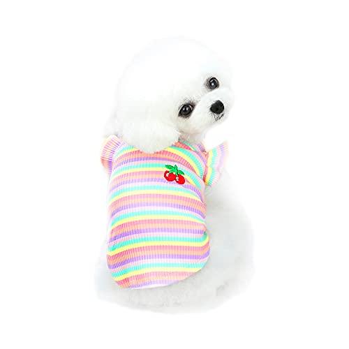 YAODHAOD Camisa para Perros Camisa de algodón a Rayas, Ropa para Perros a Rayas de Colores, Diseño de Volantes en los Hombros, Ropa Informal básica para niños y niñas pequeños Perros (Rosa, Small)