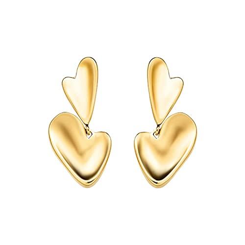 YFZCLYZAXET Pendientes Mujer Pendientes Casuales De Moda Pendientes Colgantes En Forma De Corazón Moda Ligera Femenina S925 Aguja De Plata Pendientes En Forma De Corazón-Oro.