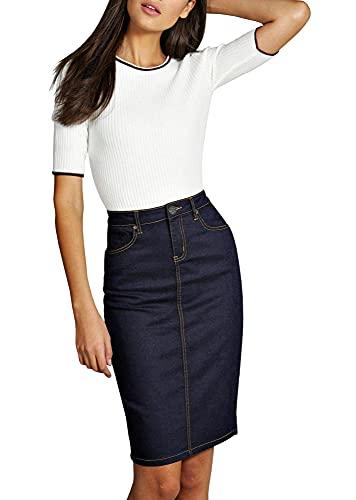 Lexi Womens Pull On Stretch Denim Skirt Sks22880 Indigo 10, Indigo, Size 10