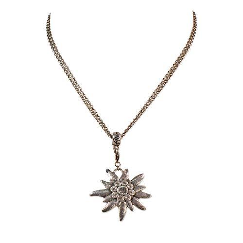 Trachtenkette mit Strass-Edelweiß groß - Damen Dirndlkette mit Kristallstein, Halskette für Trachtenbluse und Lederhose, Dirndl-Schmuck fürs Oktoberfest, Trachtenschmuck (antik-Silber-Farben)