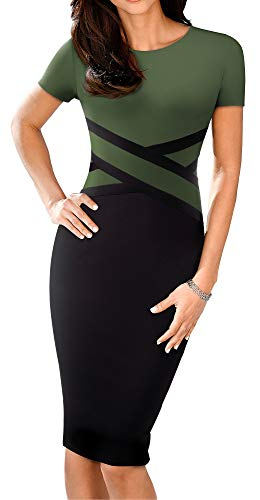 HOMEYEE Women's 3/4 Sleeve Colorblock Sheath Pencil Church Dress B463