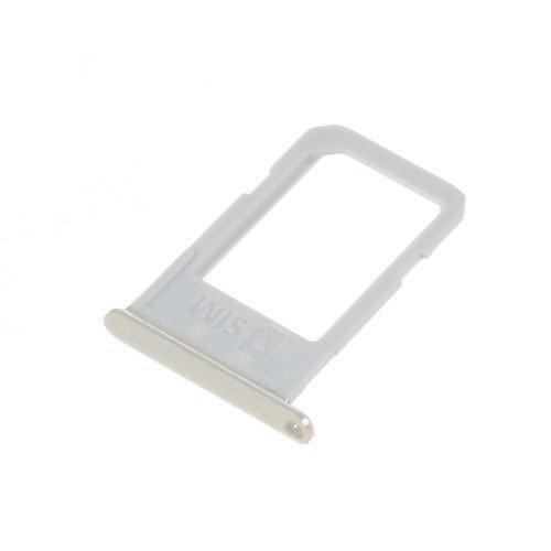 jbTec® SIM-Tray/Karten-Halter passend für Samsung Galaxy S6 Edge+ Plus - Schlitten Slot Handy-Karte Rahmen Karten-Fach Holder, Farbe:Silber