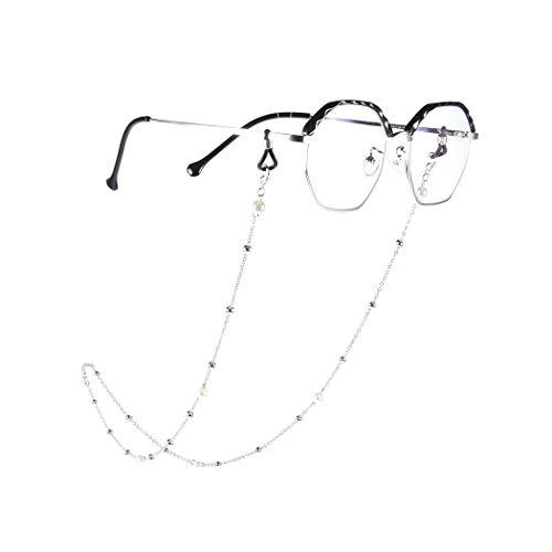Yienate Bohême Chaînes de lunettes pour femme avec chaîne de perles Accessoires de lunettes – Support de sangle de lunettes – Sangle de retenue pour lunettes de soleil (argent)