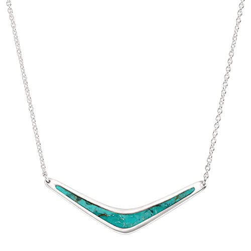 Silpada 'Reversible Boomerang' Compressed Turquoise Necklace in Sterling Silver, 16' + 2'