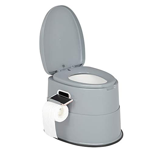 VINGLI Portable Toilet | Indoor Outdoor Commode w/Detachable Inner Bucket & Removable Paper Holder, Lightweight & Compact for Camping, Boat, Van, Emergency Use (Grey)
