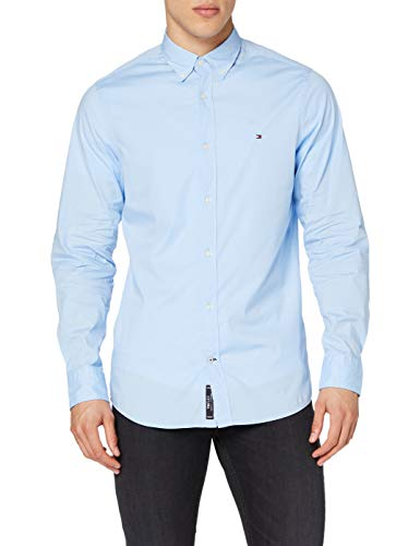 Tommy Hilfiger Core Stretch Slim Poplin Shirt Chemise Casual, Homme, Bleu Blue 474), Small