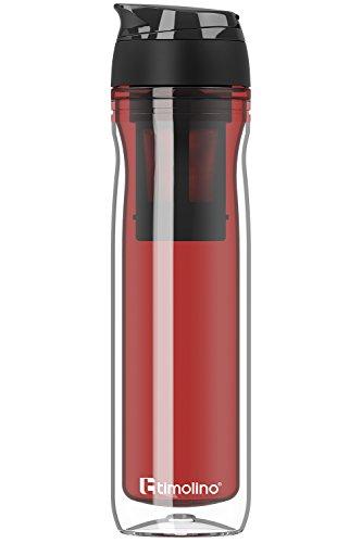 Premium - Trinkflasche - Wasserflasche - Thermobecher 500 ml für Kaffee und Tee - Coffee to Go - Isoliert für heiße und kalte Getränke - Shakes - Teesieb - Fruchtsieb - Rot