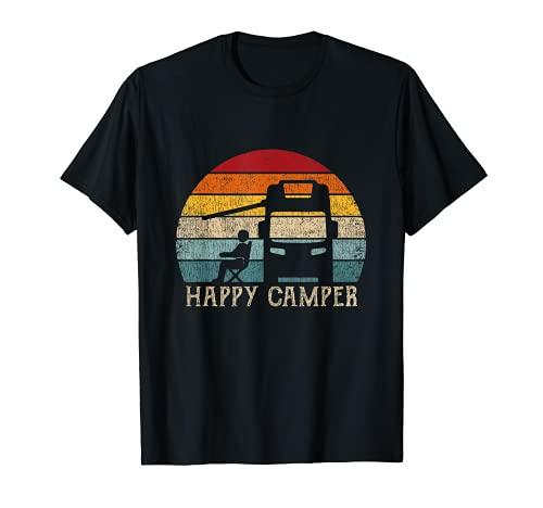 Happy Camper RV Camping Shirt Hombres Mujeres Retro Sun 70s Camiseta