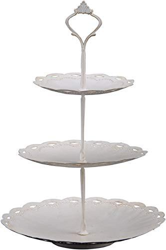 Exner | Etagere Servierständer ClairBlanc 22,5x22,5x36 cm mit 3 Tellern und Griff | Metall Weiß Tischdeko Frühling Sommer Landhaus Hochzeit Feste