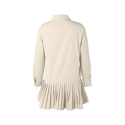 Moda Mujer Camisa Vestido Casual de Manga Larga con Volantes botón Plisado de una Pieza Falda de Talla Grande Mini Vestido Ropa de Trabajo Oficina Uso Diario (pie, S)
