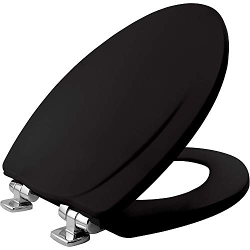 MAYFAIR 1830CHSL 047 Toilet Seat with Chrome Hinges will Slow Close and Never Come Loose, ELONGATED, Durable Enameled Wood, Black
