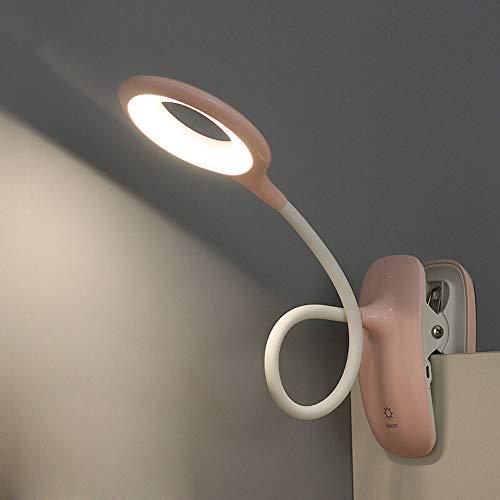LED Klemmleuchte Leselampe Klemme mit Berührungssensor, Bett Schreibtischlampe kinder, 360° flexibel Schwanenhals Klemmlampe, USB aufladbare Buchlampe für Studieren Arbeiten,Rosa